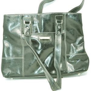Franklin Covey Black Patent Leather Tote & Purse
